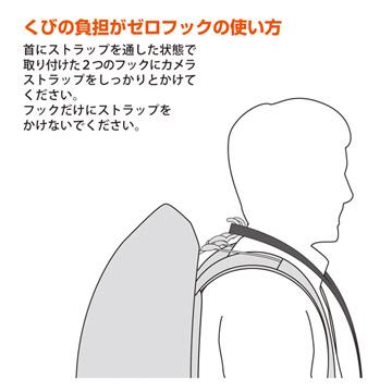 首にストラップを通した状態で、ストラップをフックに掛けて使います