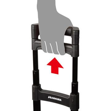 4段階に高さが調節可能な伸縮式ハンドル