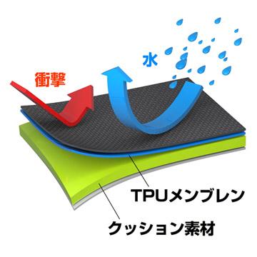 TPUメンブレンを貼り付けた完全防水生地と衝撃を吸収するクッション素材。