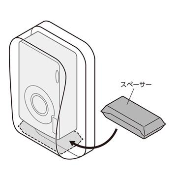 付属のスペーサーを正面側収納部の底に敷くことでカメラが取り出しやすくなります。