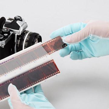 ネガフィルムや写真の取扱いにも。手の甲側は通気性の良いメッシュ生地で作業も快適