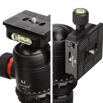 カメラ台・クイックシューストッパー2か所の水準器