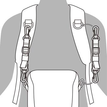 チェストアタッチメントで、バックパックのショルダーハーネスに取り付け可能
