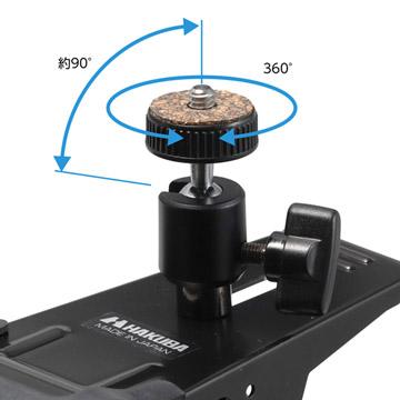 1/4インチカメラネジ付自由雲台を装備
