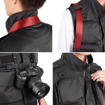 カメラ携行時の快適性にこだわった様々な機能