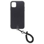 Straps iPhone 11ケース+フィンガーストラップ スパークルブラック