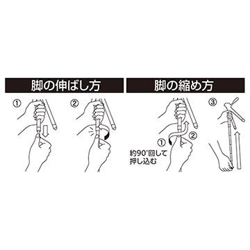 8段のロッドアンテナのような脚(ダボ式)は、状況に合わせて高さを調節できます