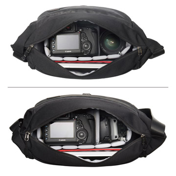 フルサイズ一眼レフカメラと交換レンズ1本の収納が可能