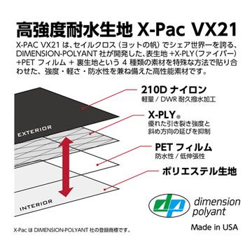 高強度耐水生地X-Pac VX21を採用