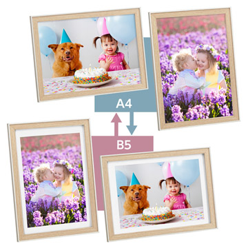 A4サイズとB5サイズの写真に使える2WAY仕様