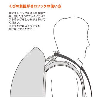 首にストラップを通した状態で、ストラップをフックに掛けて使います。