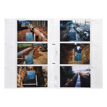 使用例(1枚の台紙に写真が6枚入ります。便利なメモ欄付き。)